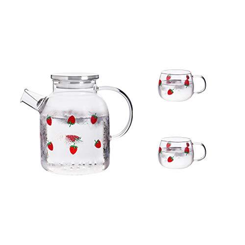 QAX Jarra de agua de vidrio con tapa ajustada, jarra de vidrio de borosilicato más gruesa resistente al calor para té, zumo y leche, 1800 ml + 2 tazas