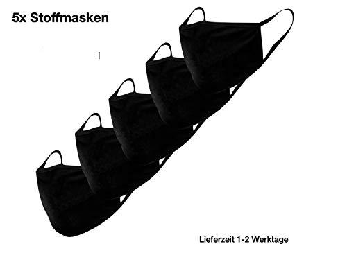 Stoffmaske Mund-Nasen-Schutz Behelfsmasken 5 Stück waschbar wiederverwendbar schwarz Baumwolle Damen Herren Tröpchen Schutz Anti Staub resistent gegen Speichel, zum Bügeln Staubschutzmaske