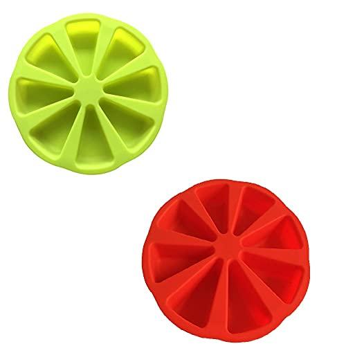 ZQDL 8 rejillas de silicona cuñas molde de pastel porción individual rodajas de pizza herramienta de cocina (rojo+verde)