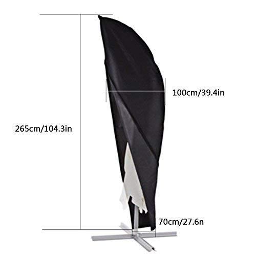 Xiliy Imperméable Couverture pour Parasol Fort et Durable Couverture Housses pour Parasol avec Sac de Rangement 265 x 100 x 70cm