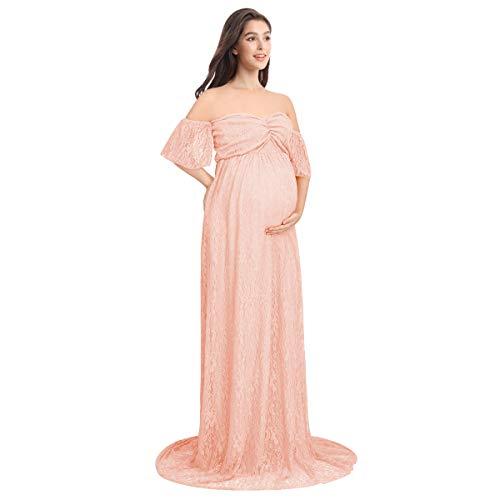FYMNSI Schwangerschaftskleid Umstandskleid Carmen Maxikleid Spitzenkleid Schulterfreies Lang Mutterschaftskleid Umstandsmode Mutterschaft Kleidung Hochzeitskleid Fotografie Kostüm Rosa M