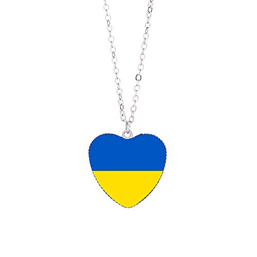Handgefertigte Halskette im Stil der Ukraine-Flagge, Reisesouvenir, Geschenk, Modekleidung, Kollokation