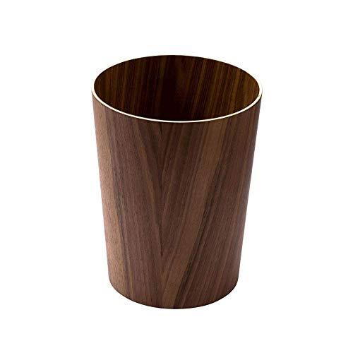 ZXT Nordic Wooden Trash can flip Living Room Creative Fashion Simple Home Bedroom Office Hotel Large Paper Basket (Color : Black Walnut Color)