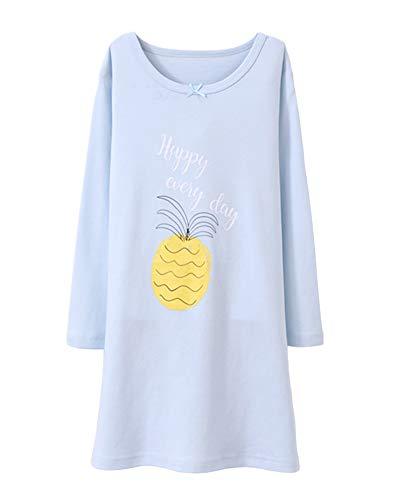 DianShaoA Mädchen Fruchtdruck Netter Nachthemd Rundhalsausschnitt Schlafanzüge Langarm Für 3-12 Jahre Blau 100