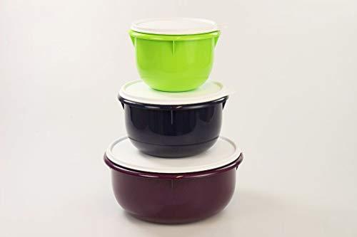 TUPPERWARE Rührschüssel PENG 3,0L violet+ 2,0L dunkel blau+1,0L limette Germteig