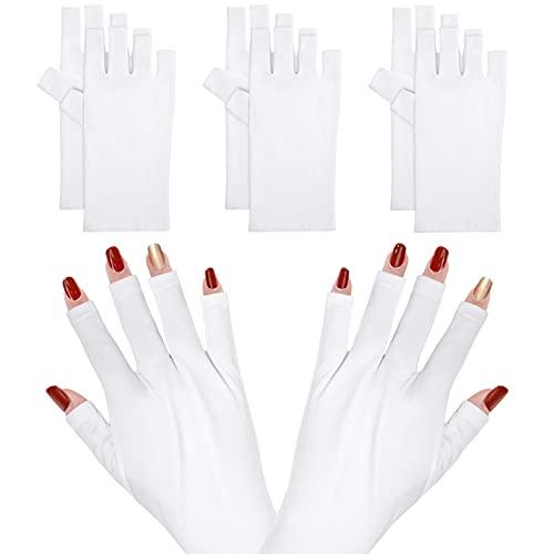 Guantes para Manicura Guantes sin Dedos Guantes de Protección UV Protegen Manos para Secado en Gel Esmalte de Uñas 3 Pares