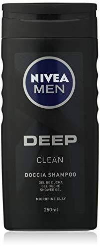 NIVEA MEN Deep Clean Doccia Shampoo in confezione da 6 x 250 ml, Bagnoschiuma uomo per corpo, viso e capelli, Shampoo uomo con derivati di argilla naturale
