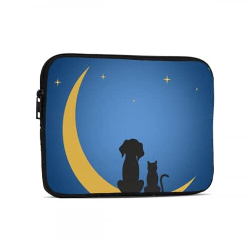 Bolsas para computadora para Hombres Un Perro y un Gato se sientan en la Luna bajo Las Estrellas Bolsas para tabletas compatibles con iPad 7.9/9.7 Pulgadas Bolsa Protectora de Neopreno a