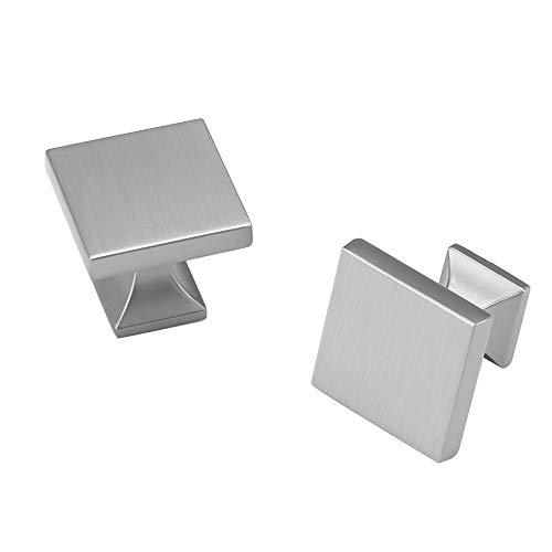 10 Pack homdiy Cabinet Knobs Brushed Nickel Drawer Knobs - MO6785SNB Square Cabinet Knobs for Dresser Drawers Silver Kitchen Cabinet Knobs