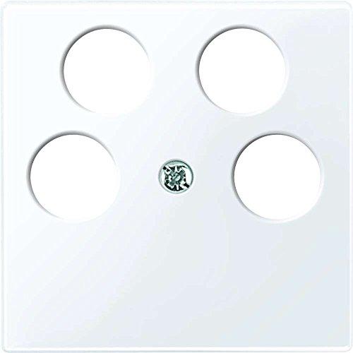 Merten 296525 centrale plaat voor Ankaro 4-voudige antenne-contactdozen, actief wit glanzend, systeem M