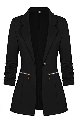 Genhoo Women's Stretchy Sleeve Open Front Lightweight Work Office Blazer Jacket Black L