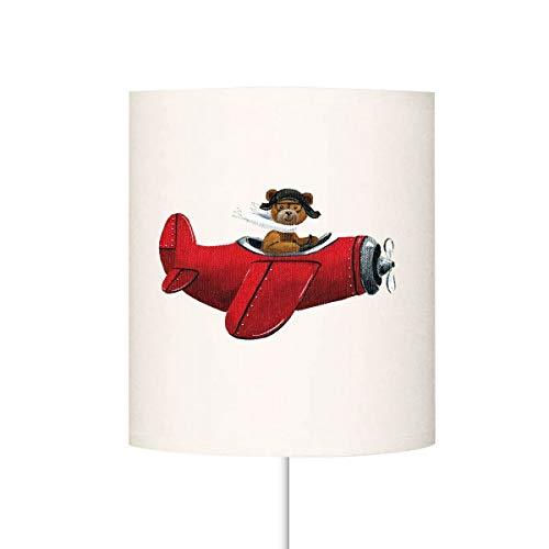 LILI - Pantalla para lámpara de tulipa de oso en avión, color rojo, diámetro 25 cm