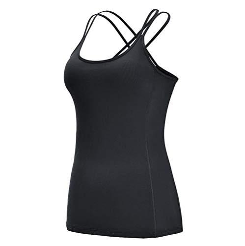 Sport BH Frauen Sport Shirt Jersey Fitness BH Top Vertuschung Workout T-Shirts Fitnessstudio Kleidung Yoga Weste Sportbekleidung Laufanzug Singlet-Black_M