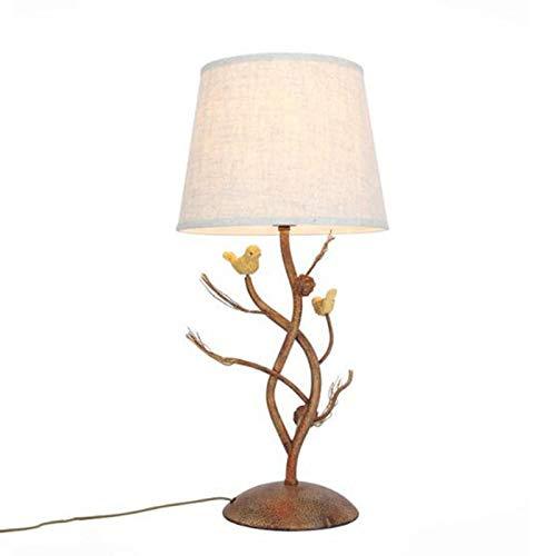 Zhenwo Nachttischlampen Schmiedeeisen Tischlampe, Kreative Retro Eisen Lampe Körper Wohnzimmer Studie Tischlampe, Tuch Lampenschirm Schlafzimmer,A