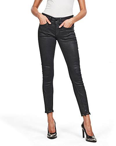 G-STAR RAW Damen Lynn 2-Zip Mid Waist Ankle Skinny Jeans, Schwarz (Black Obsidian Cobler B472-B154), W34/L34 (Herstellergröße: 34W/ 34L)