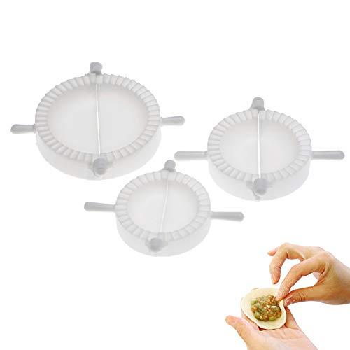 Ruiting Empanadillas Molde,Utensilio para hacer empanadillas y ravioli,Molde de Silicona para masa herramienta de cocina con mango 3pcs (Blanco)