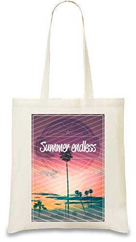 Sommer Endless Kalifornien - Summer Endless California Custom Printed Tote Bag| 100% Soft Cotton| Natural Color & Eco-Friendly| Unique, Re-Usable & Stylish Handbag For Every Day Use| Custom Shoulder