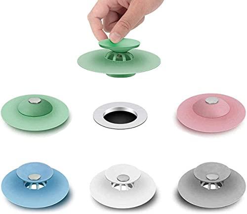 FayTun 5 Pezzi Tappo Lavandino Silicone,Universale Tappo per Vasca da Bagno,Tappo di Scarico in Silicone, Scarico a Pavimento Tappo per Cucine, Vasche da Bagno, Sistemi di Drenaggio, Lavelli