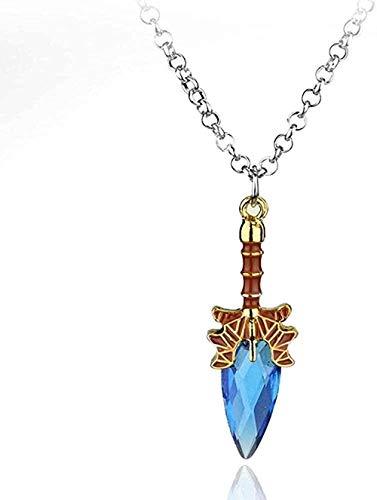 Yiffshunl Collar Retro Diseño Clásico Hombres Mujeres Fácil de Combinar Personalidad Simple Collar con Colgante de Palo Azul
