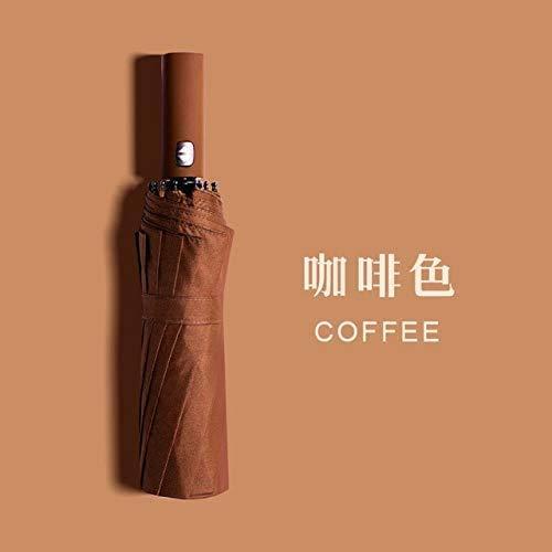 SLM-max tragbar Mehrfarbiger Langer Regenschirmgriff Vollautomatischer Dreifaltschirm Winddicht Regendicht Großer Business-Regenschirm Kaffee (ohne Beschichtung) Sch