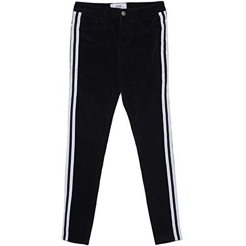 Sixth June Cord-Jeans mit schwarzen Streifen Gr. 36 DE/XL, Schwarz