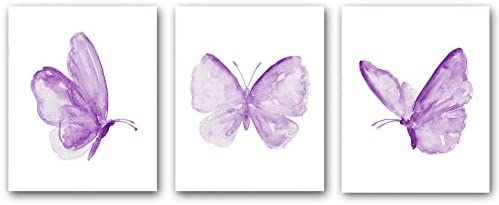 Set of 3 Butterfly Inspiration Wall Art Print Poster with Purple Butterfly Colorful Butterfly product image