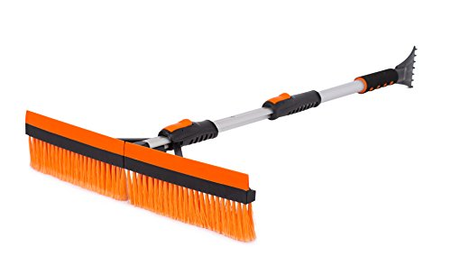 Snow MOOver 46' Extendable Snow Brush with Squeegee & Ice Scraper - Foam Grip - T-Shape Auto Snow Brush - Auto Ice Scraper - Car Truck SUV