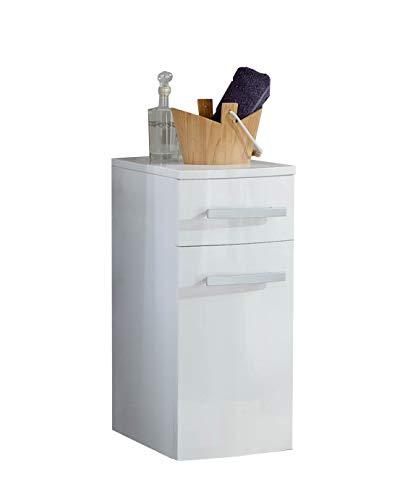 SAM Bad-Unterschrank Genf, Hochglanz weiß, mit 2 Schubladen, pflegeleichtes Badmöbel, Waschtischunterschrank mit Soft-Close, 35 x 60 x 35 cm