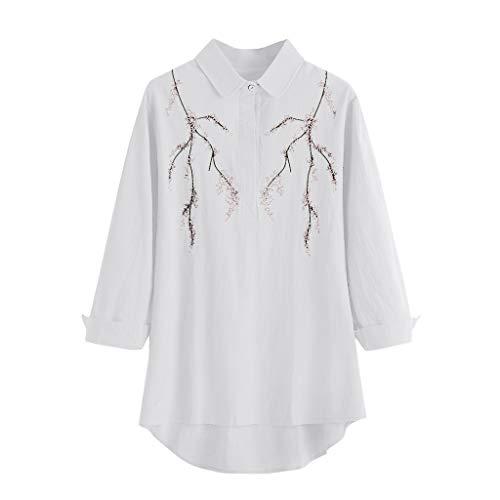 Berimaterry Damen T-Shirt Vintage Print Langarmshirt Sommershirt Casual Revers Langarm Bluse Shirts Tops Retro Große Größen Tunika