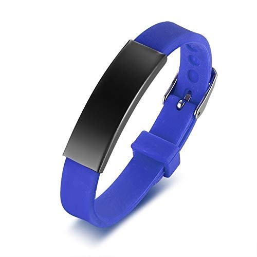 CHENGTAO Personalisierte Gummi-Silikon-Armband-Kind-Baby-Armband-Armband Verstellschlitten Custom Name for Kinder Frauen Männer Boy Sportarmband (Metal Color : No engrave Blue 2)