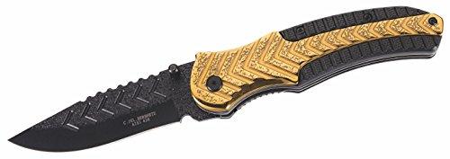 Herbertz Couteau Pliant - Acier AISI 420 - Revêtement Noir - Broches pour Le Pouce - Liner Lock - Plastique et Acier Inoxydable - Clip de Ceinture.