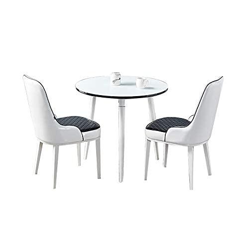 Krzesło kombinowane Kuchnia Krzesła do jadalni, recepcja Mały okrągły stół Salon Stoły negocjacyjne biurowe i kombinacja skórzanych krzeseł (kolor: białe nogi, rozmiar: zestaw 3-częściowy)