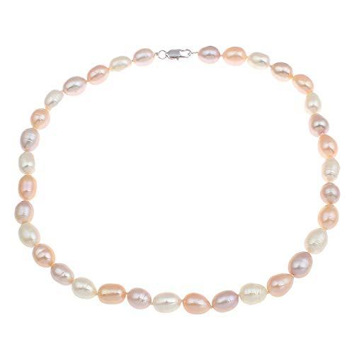 TreasureBay Perlenkette, Mehrfarbig, 7 mm, natürliche Süßwasserperlen