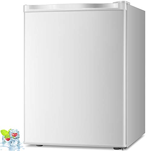 Kismile 2.1 Cu.ft Compact Upright Freezer with Reversible Single Door,Removable Shelves Mini Freezer with Adjustable Thermostat for Home/Kitchen/Office(2.1 Cu.ft, White)