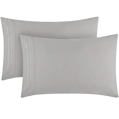 Mellanni Luxury Pillowcase Set - Brushed Microfiber 1800 Bedding - Wrinkle, Fade, Stain Resistant - Hypoallergenic (Set of 2 King Size, Light Gray)
