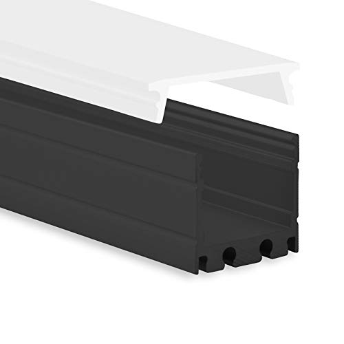LED Aluminium Profil P8 Kocab LED Profil Schwarz 2m für LED Streifen bis zu 16mm inkl. Abdeckung Opal (milchige Abdeckung) LED-Aluprofil schwarz