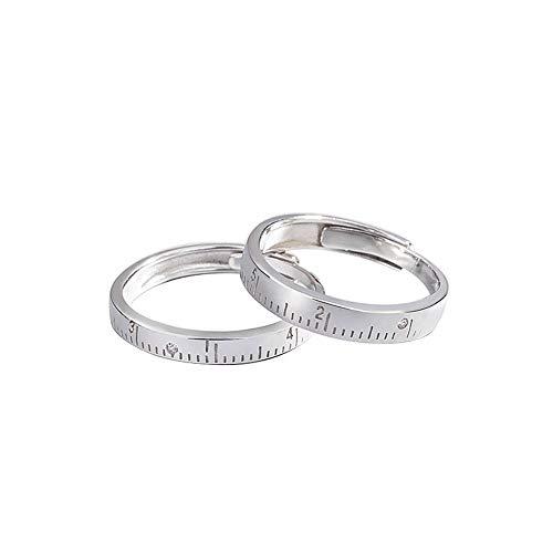 YOLANDE 925 sterling zilveren opening Simpel Band Ringen instelbaar partnerringen liniaal schaal ringen voor bruiloft, verloving, dagelijks leven en hobby