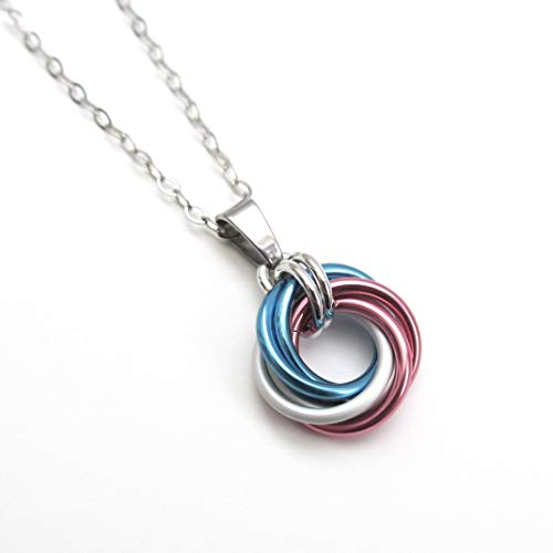 Transgender pride pendant, chainmail love knot; pink white blue
