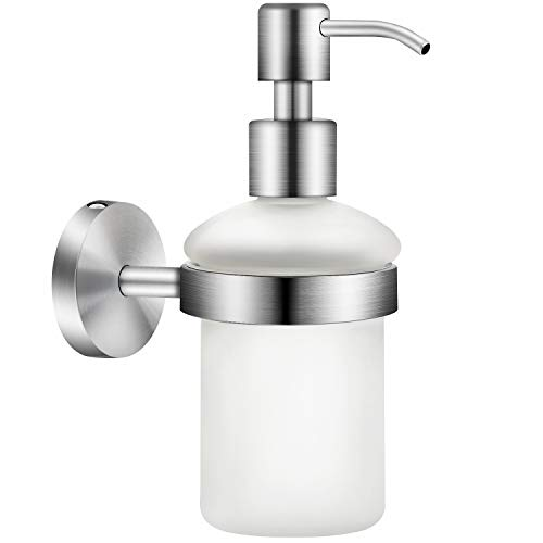 EXLECO Dispenser Sapone da Parete Acciaio Inox 304 200 ml Shampoo Doccia Gel Bottiglia Mani Distributore di Sapone Manuale