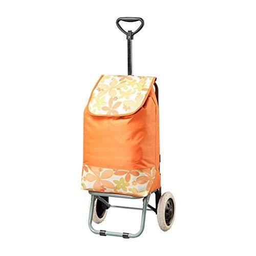 JPL Old Person Shopping Trolleys, Climbing Shopping Cart Carrito de compras Carrito pequeño Equipaje Trolley Remolque plegable Trolley Trolley Home Portable Orange