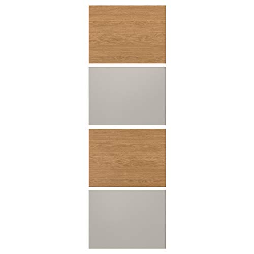 MEHAMN fyra paneler för skjutdörr 75 x 236 cm ekeffekt/ljusgrå