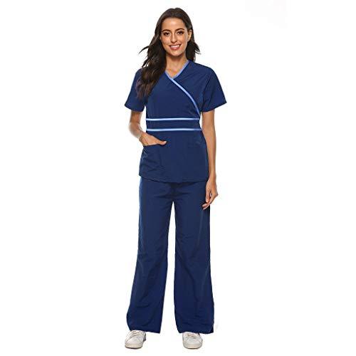 Rmoon Divisa Sanitaria Uomo Donna in Cotone 100% Sanforizzato Pantaloni E Casacca Scollo A V Divise Sanitarie Donna