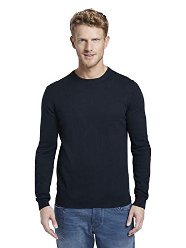 TOM TAILOR Herren Pullover & Strickjacken Sweater mit Kaschmir-Anteil Knitted Navy Melange,XL,13160,6000