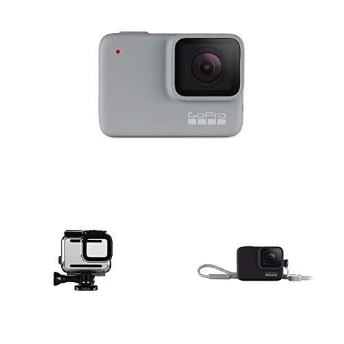 GoPro HERO7 White - Cámara de acción Digital Sumergible con Pantalla táctil, vídeo HD 1440p y Fotos de 10 MP + Carcasa Protectora Hero 7 Plateado/Blanco + Funda para cámara GoPro