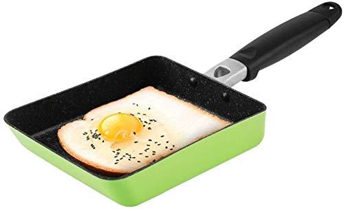 HZY Cookware Poêle à œufs carrée avec revêtement anti-adhésif Idéal pour la cuisson des œufs ou des omelettes Passe au lave-vaisselle Vert 18 cm