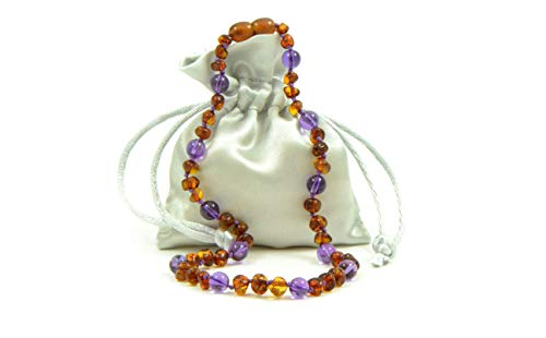 Amber and Amethyst Necklace for Girls and Boys (Unisex) - Genuine Amber Beads - Multiple Sizes (13.3)