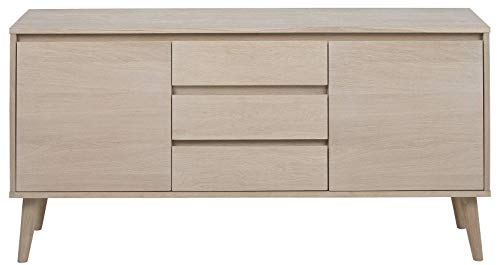 24Designs Dressoir Sandviken 3-Laden - 150x40x75 - Eiken White Wash