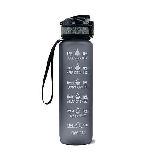 Botella de agua deportiva de motivación, botella de agua con marca de tiempo, recuerde siempre que reponga el agua para mantener la buena salud