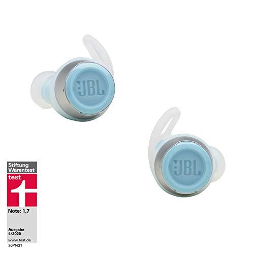 JBL Reflect Flow In-Ear Bluetooth-Kopfhörer in Türkis – Kabellose Ohrhörer mit TalkThru-Technologie & Mikrofon – Wasserdichte Sport-Kopfhörer Klasse IPX7 – Inkl. Ladecase