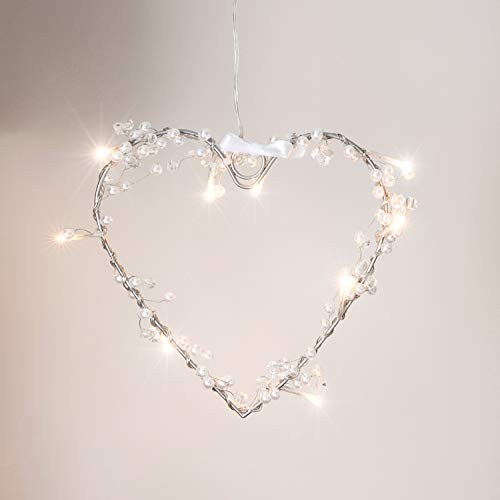 Battery Operated Heart Fairy Light Wreath with 10 Warm White LEDs by Lights4fun